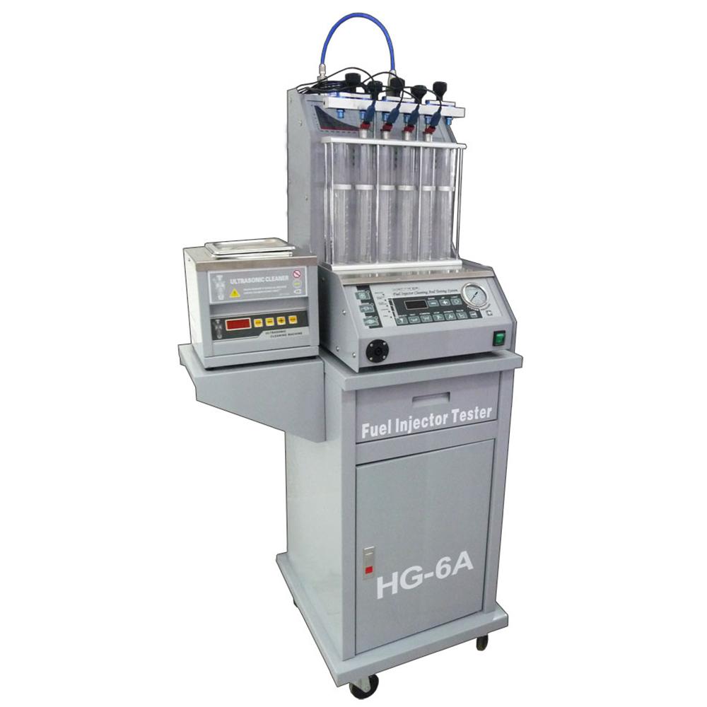 Стенд HG-6A предназначен для тестирования (до 6 шт.) и ультразвуковой очистки (до 6 шт.) форсунок бензиновых двигателей. Используется для диагностики состояния и восстановления работоспособности большинства видов бензиновых форсунок. В комплект поставки входит стойка.
