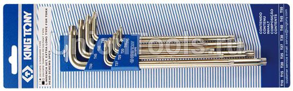 Комплект ключей Г-образных TORX длинных с отверстием 9 предметов