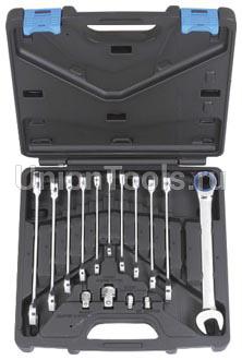Комплект ключей комбинированных трещоточных 16 предметов