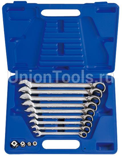 Комплект ключей комбинированных трещоточных с флажком 13 предметов