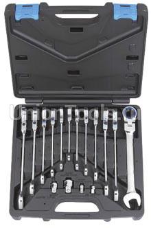 Комплект ключей комбинированных трещоточных с шарниром 16 предметов
