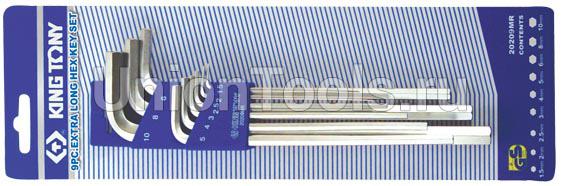 Комплект ключей шестигранных Г-образных длинных 9 предметов
