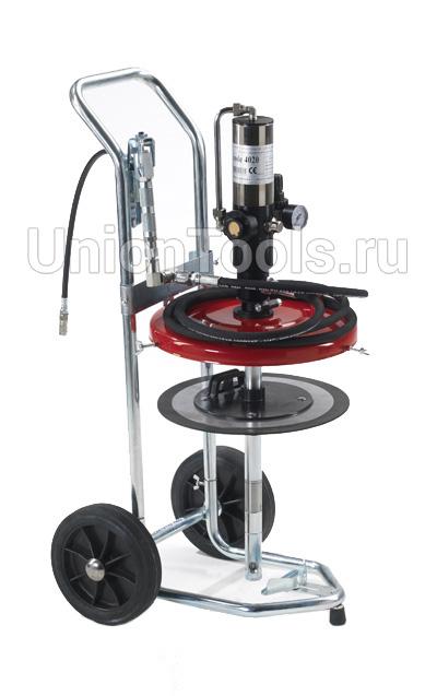 Мобильный комплекс на тележке для раздачи густых смазок с пневматическим насосом