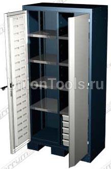 Шкаф для оснастки и инструмента, 8 полок, 5 выдвижных ящиков.
