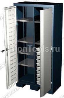 Шкаф для оснастки и инструмента, 6 полок, 10 выдвижных ящиков