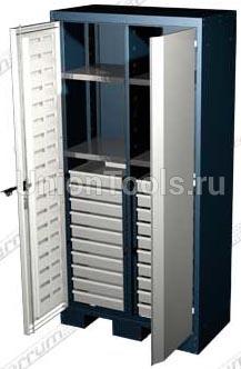 Шкаф для оснастки и инструмента, 4 полки, 20 выдвижных ящиков.