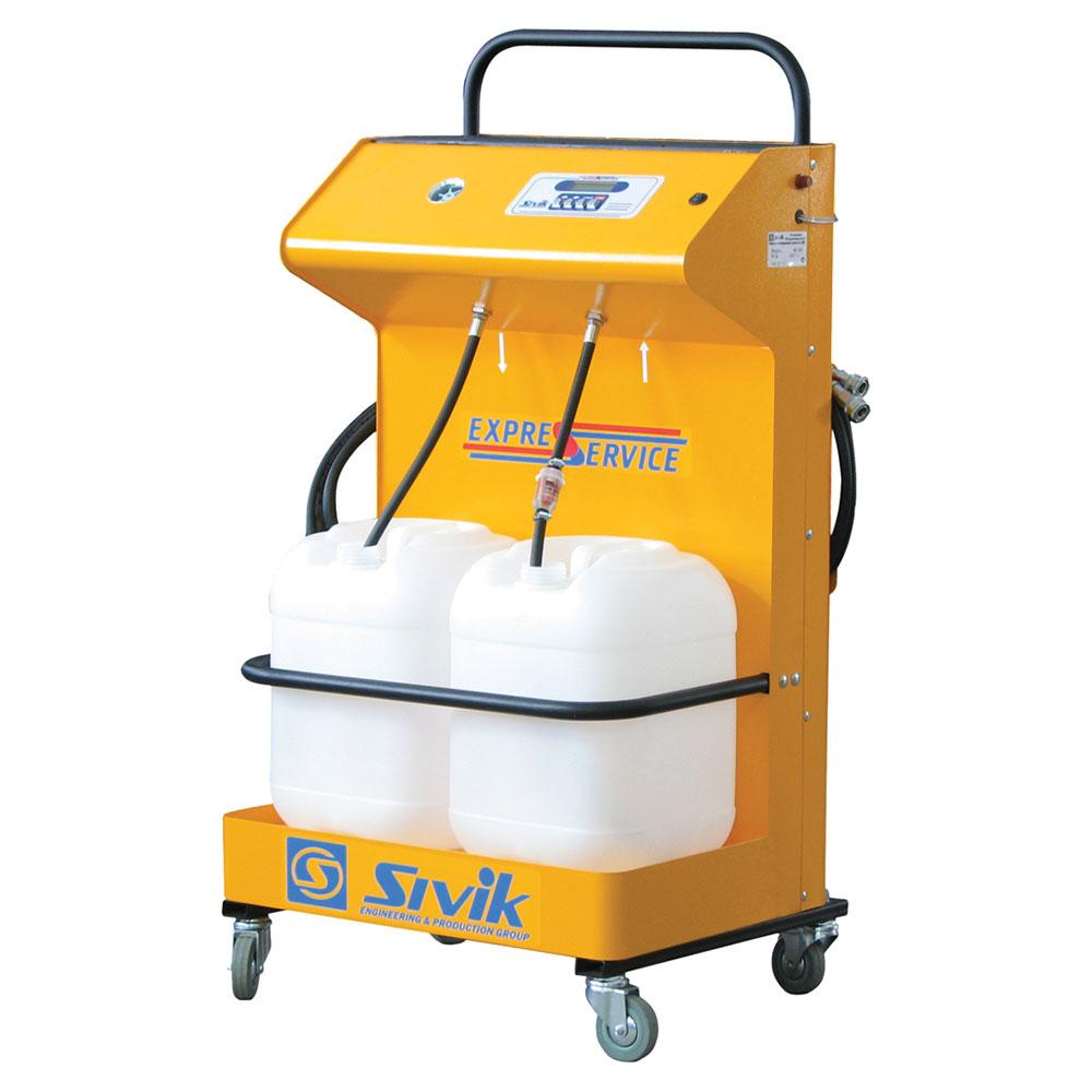 Профессиональная станция для замены охлаждающей жидкости (антифриза), очистки и диагностики системы охлаждения. Полностью автономная установка, не требует подключения внешнего компрессора. Питание от АКБ (12В).