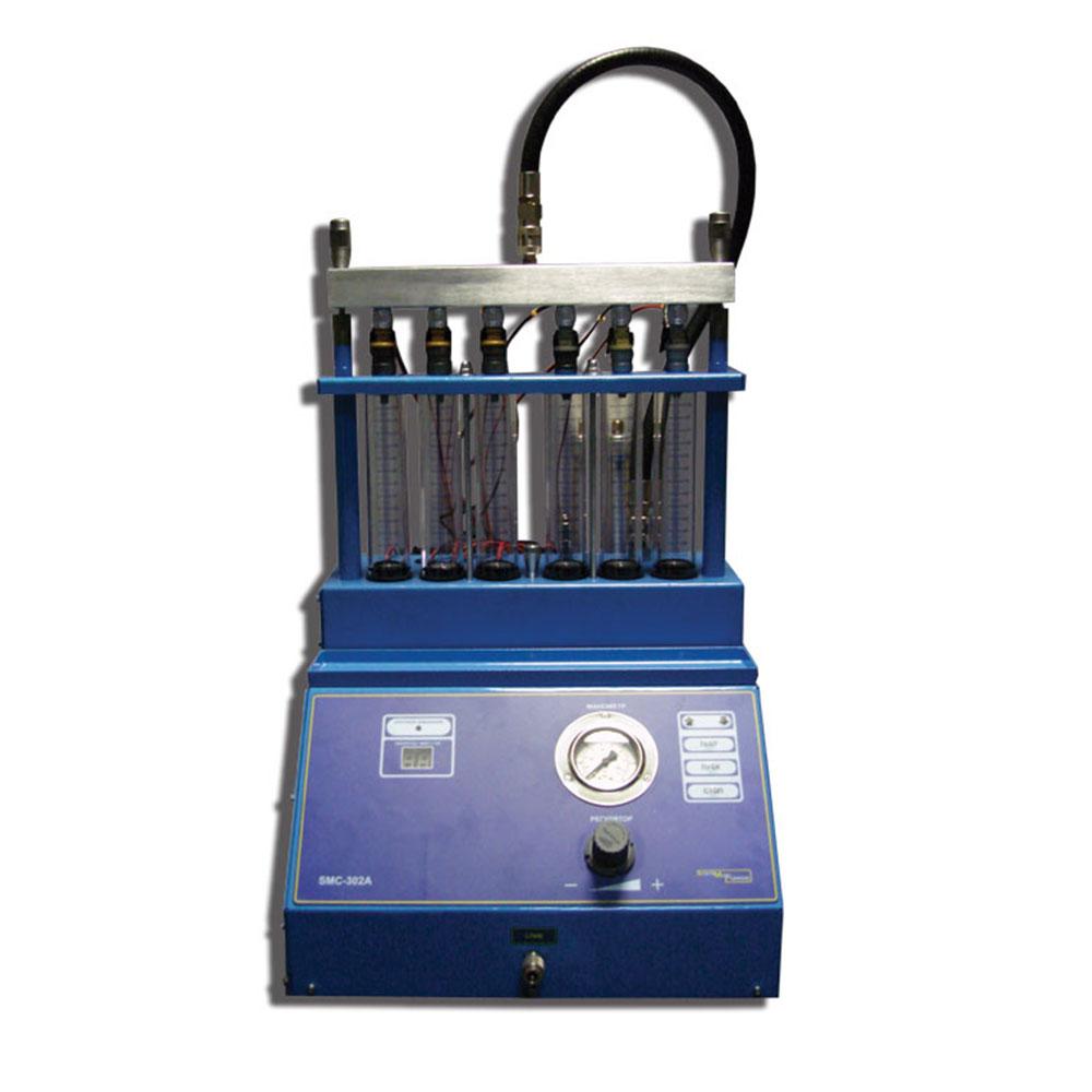 Стенды серии SMC-302A работают от внешней пневмосети и предназначены для тестирования (до 6 шт.)  и ультразвуковой очистки (до 6 шт.)  форсунок бензиновых двигателей. Используется для диагностики состояния и восстановления работоспособности большинства видов бензиновых форсунок.