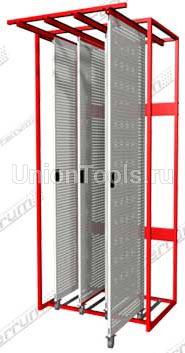 Стенд для размещения инструмента на базе выдвижных перфорированных панелей