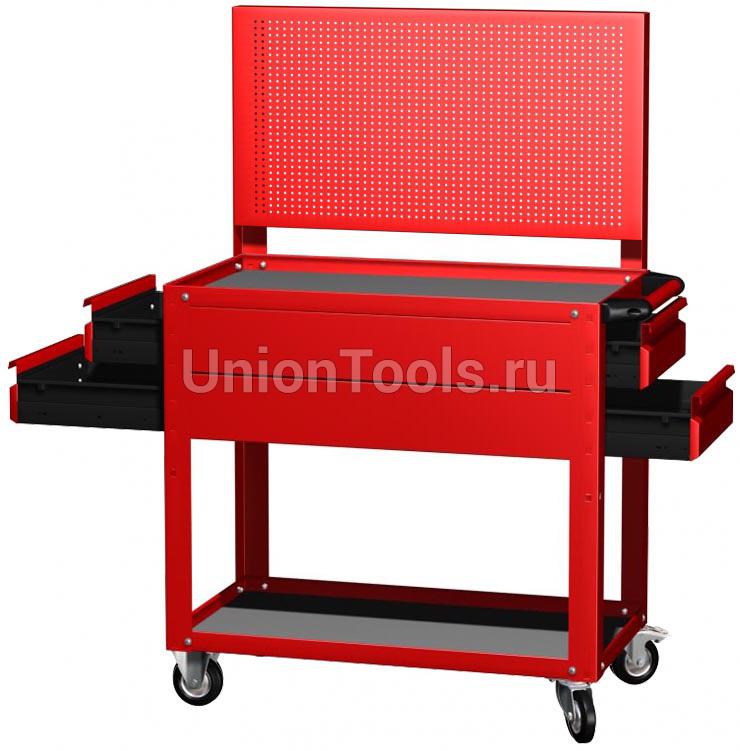 Тележка инструментальная 2 открытые полки, 4 выдвижных ящика, перфорированная панель. Цвета: синий, красный, серый, зелёный.