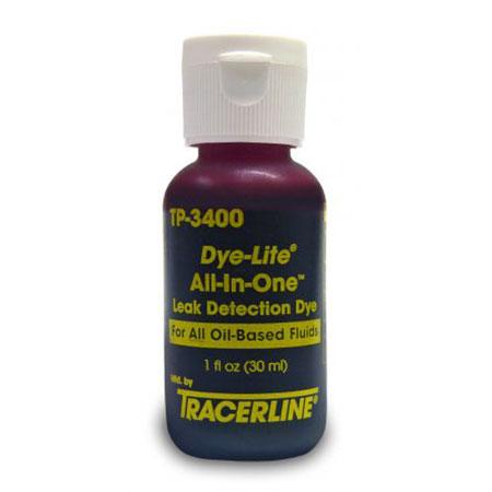 Флакон 30 мл. флуоресцента Dye-Lite All-In-One используется при поиске утечек различных автомобильных масел.