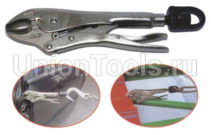 Зажим с фиксатором (струбцина) круглогубый с поворотным ушком 263 мм